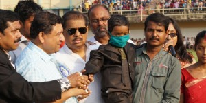 "Joydeep Koruli at the ""Play for Cancer"" charity football match Mohammedan Sporting v East Bengal"