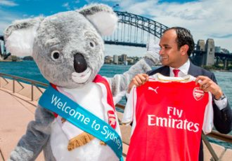 Sydney the Koala with Arsenal FC Chief Commercial Officer Vinai Venkatesham