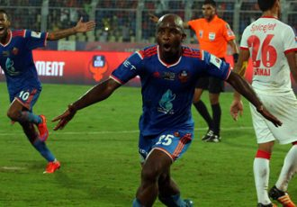 MacPherlin Dudu Omagbemi celebrating his goal for FC Goa