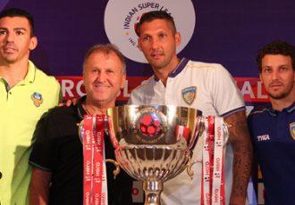 Lúcio, Zico, Marco Materazzi and Elano at the Indian Super League (ISL) Pre-Match Press Conference
