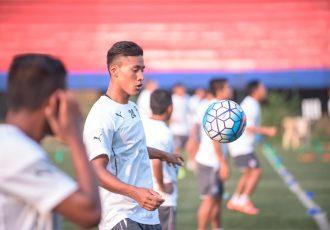 Bengaluru FC defender Salam Ranjan Singh in training at the Bangalore Football Stadium