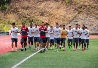Bengaluru FC players train at the Rajiv Gandhi Stadium, in Aizawl, on Friday, on the eve of their Federation Cup opener against Aizawl FC.
