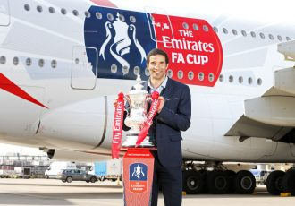 Former England and Liverpool goalkeeper, David James in front of The Emirates FA Cup decal on the Emirates A380.
