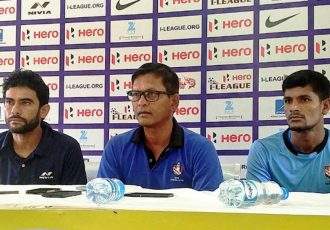 Khalid Jamil, Derrick Pereira and Subrata Paul during the pre-match press conference.