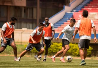 Bengaluru FC players in training at the Bangalore Football Stadium