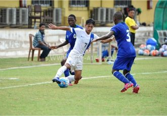 The India U-16 team in action against Tanzania U-17 during the AIFF Youth Cup.