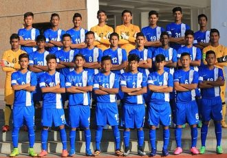 The India U-16 national football team pose for a group photo.