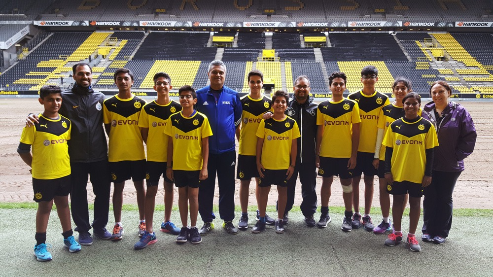 PIFA Mumbai kids with Chris Punnakkattu Daniel and Arunava Chaudhuri during the Borussia Dortmund stadium tour