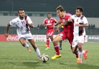 Match action from the Shillong Lajong FC v Mohun Bagan AC encounter.