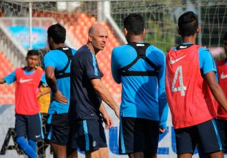 National coach Stephen Constantine during a India national team training session.