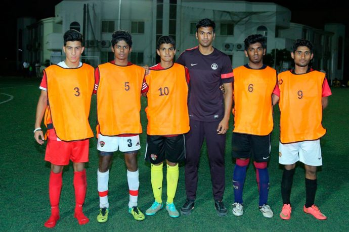 Abhishek Yadav with the five shortlisted boys from the SAI–AIFF Overseas Scouting Project (OSP) trials in Dubai.