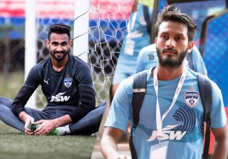 Bengaluru FC stars Amrinder Singh and Alwyn George.