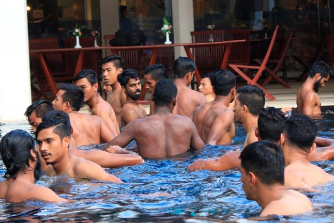 Indian national football team players relaxing in the pool.