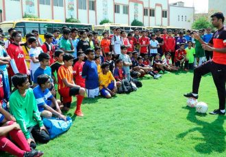 Abhishek Yadav during the SAI–AIFF Overseas Scouting Project (OSP) trials in Dubai.