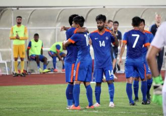 Indian players celebrating during the AFC Asian Cup 2019 play-off first-leg Laos v India.