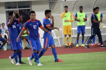 Jeje Lalpekhlua during the AFC Asian Cup 2019 play-off first-leg Laos v India.