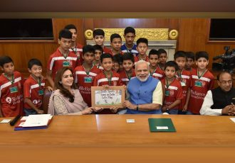 Reliance Foundation Young Champs meet India PM Narendra Modi at RFYS launch