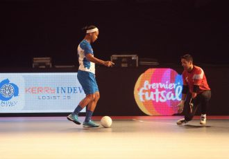 Ronaldinho in action in the Premier Futsal league in India