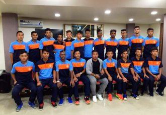 The AIFF U-19 Academy Boys with Indian national team striker Jeje Lalpekhlua.