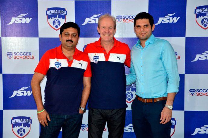 Bengaluru FC Chief Technical Officer Mandar Tamhane, Head of Youth Development John Kila and Chief Operating Officer Mustafa Ghouse