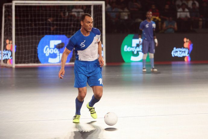 Cafu in action for Goa in the Premier Futsal league in India.