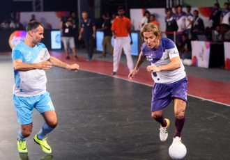 Michel Salgado and Ryan Giggs in action in the Premier Futsal league in India