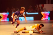 Michel Salgado in action in the Premier Futsal league in India.