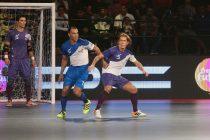 Cafu (Goa) and Michel Salgado (Kochi) in action during the Premier Futsal league in India.