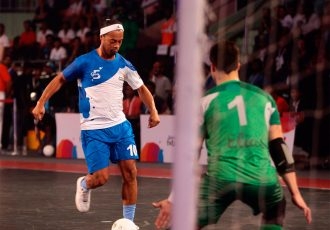 Ronaldinho in action in the Premier Futsal league in India.