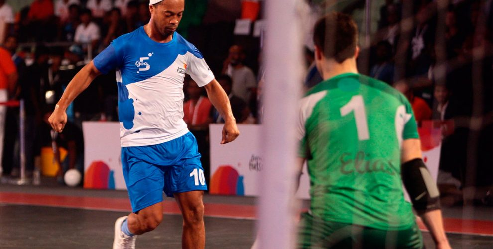 Ronaldinho in action in the Premier Futsal league in India.