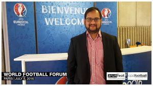 Arunava Chaudhuri on the way to the World Football Forum 2016 in Paris on July 8, 2016