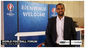 Chris Punnakkattu Daniel on the way to the World Football Forum 2016 in Paris on July 8, 2016.