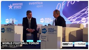 Adrian Bevington (Director of Communications, The FA) and Peter Hutton (CEO, Eurosport) at the World Football Forum 2016 in Paris on July 8, 2016.