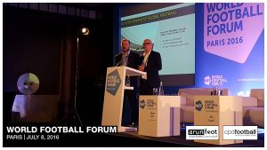 Mike Wragg (Head of Research, Repucom) and Simon Chadwick (Class of '92 Professor of Sports Enterprise, Salford University) at the World Football Forum 2016 in Paris on July 8, 2016.