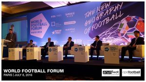 A panel on football in China at the World Football Forum 2016 in Paris on July 8, 2016.