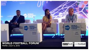 Sunando Dhar (CEO, I-League), Seema Jaswal (ISL Lead Anchor, Star Sports) and Iain Hume (Footballer, Atlético de Kolkata & Canada National Team) during the Indian Football Session at the World Football Forum 2016 in Paris on July 8, 2016.