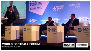 Manish Bhasin (Presenter & Journalist, BBC), Kushal Das (General Secretary, AIFF) and Sunando Dhar (CEO, I-League) during the Indian Football Session at the World Football Forum 2016 in Paris on July 8, 2016.