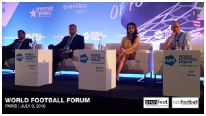 Kushal Das (General Secretary, AIFF), Sunando Dhar (CEO, I-League), Seema Jaswal (ISL Lead Anchor, Star Sports) and Iain Hume (Footballer, Atlético de Kolkata & Canada National Team) during the Indian Football Session at the World Football Forum 2016 in Paris on July 8, 2016.
