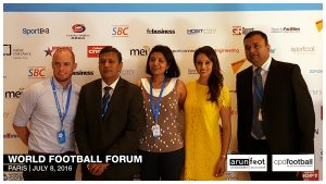 Iain Hume, Kushal Das, Mrs. Hutton, Seema Jaswal and Sunando Dhar at the World Football Forum 2016 in Paris on July 8, 2016.
