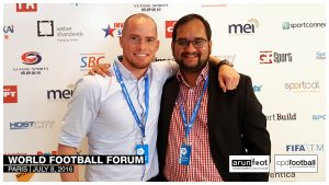 Iain Hume and Arunava Chaudhuri at the World Football Forum 2016 in Paris on July 8, 2016.