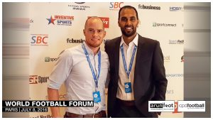 Iain Hume and Chris Punnakkattu Daniel (CPD Football) at the World Football Forum 2016 in Paris on July 8, 2016.