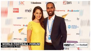 Seema Jaswal and Chris Punnakkattu Daniel at the World Football Forum 2016 in Paris on July 8, 2016.