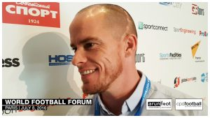 Iain Hume (Atlético de Kolkata & Canada National Team) at the World Football Forum 2016 in Paris on July 8, 2016.