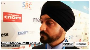 Baljit Rihal (CEO, Inventive Sports) at the World Football Forum 2016 in Paris on July 8, 2016.