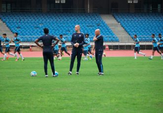 The Indian national football team coaching staff.