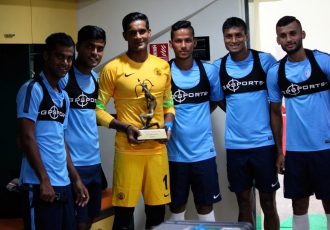 Arjuna Award winner Subrata Paul with Indian national team players.
