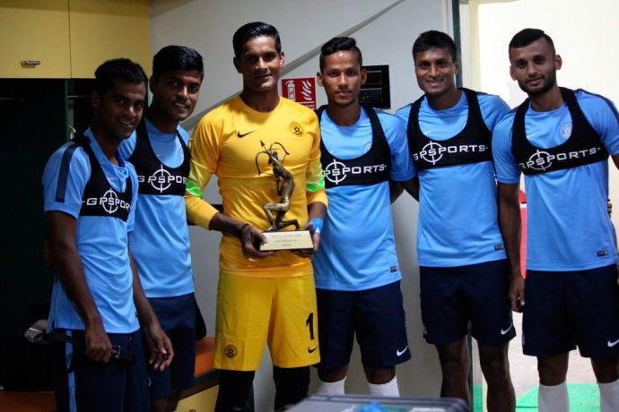 Arjuna Award winner Subrata Paul with Indian national team players.