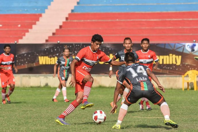 DSK Shivajians FC and NEROCA FC in action at the 2016 Durand Cup in New Delhi.