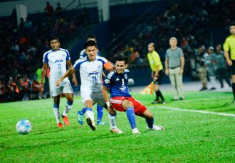 Bengaluru FC captain Sunil Chhetri in action against Johor Darul Ta'zim FC in the AFC Cup semifinals. (Photo courtesy: AFC Cup)