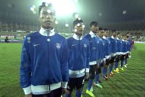 The India U-16 national team singing the national anthem.